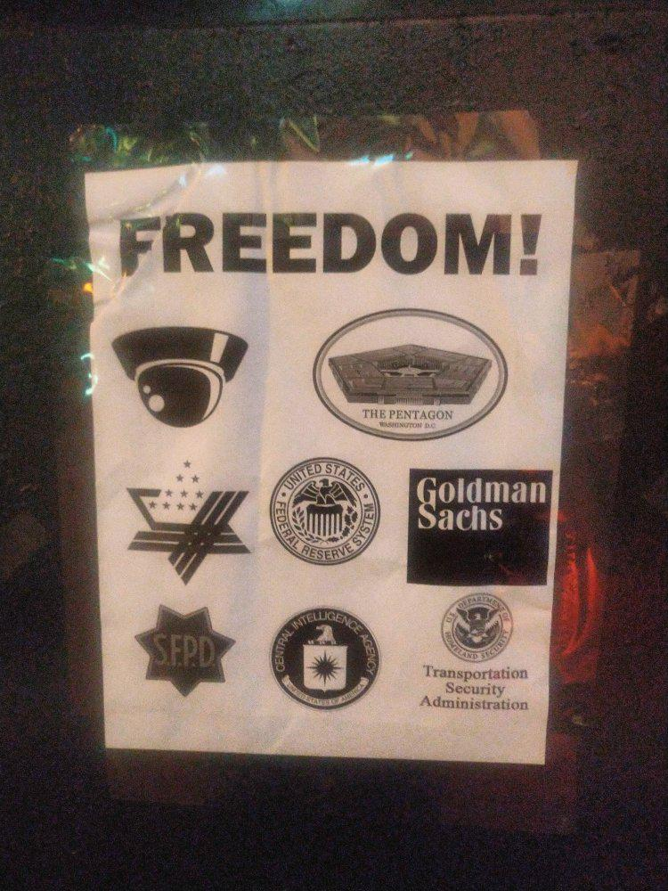 FREEDOM! poster with security camera picture