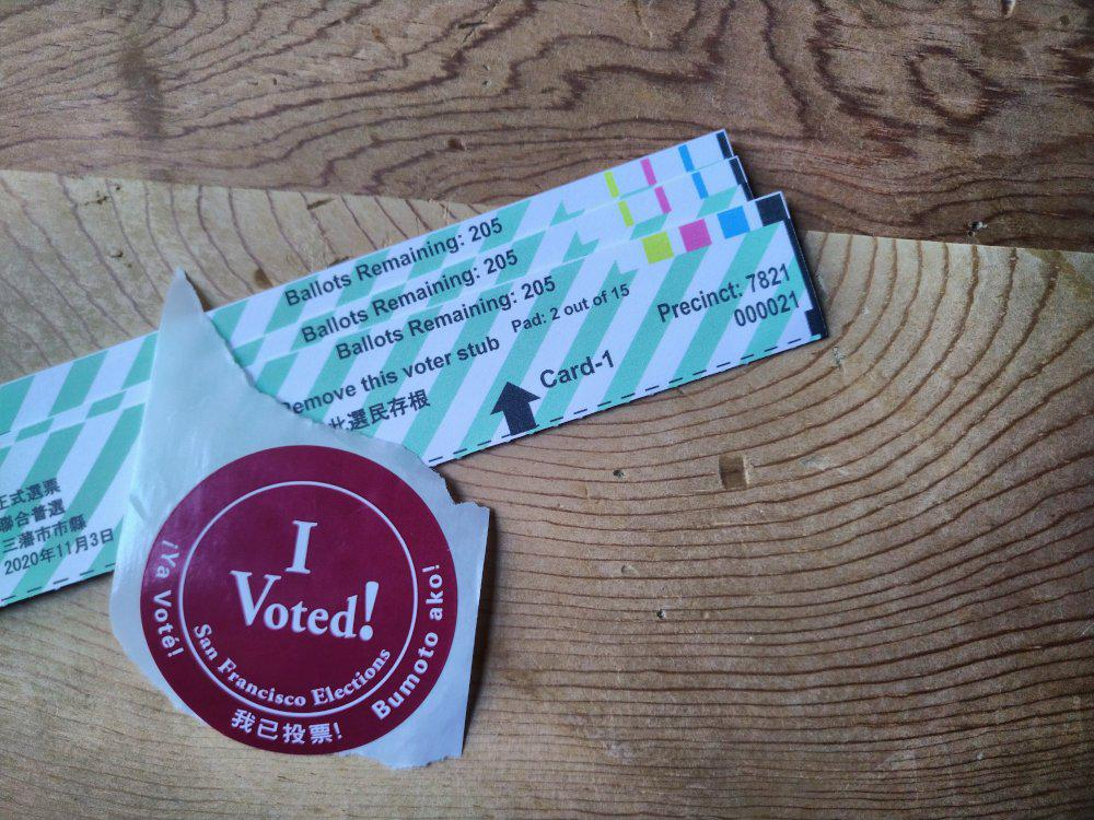 I Voted! sticker and San Francisco ballot voter stubs